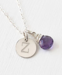 Sterling Silver February Birthstone Initial Necklace - product images 2 of 8