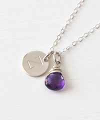 Sterling Silver February Birthstone Initial Necklace - product images 3 of 8