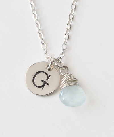 Sterling,Silver,March,Birthstone,Initial,Necklace,March birthstone initial necklace