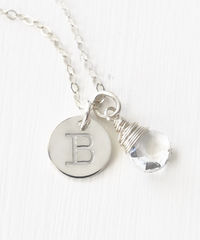 Sterling Silver April Birthstone Initial Necklace - product images 2 of 8