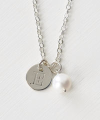 Sterling Silver June Birthstone Initial Necklace - product images 1 of 8