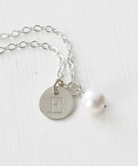 Sterling Silver June Birthstone Initial Necklace - product images 2 of 8
