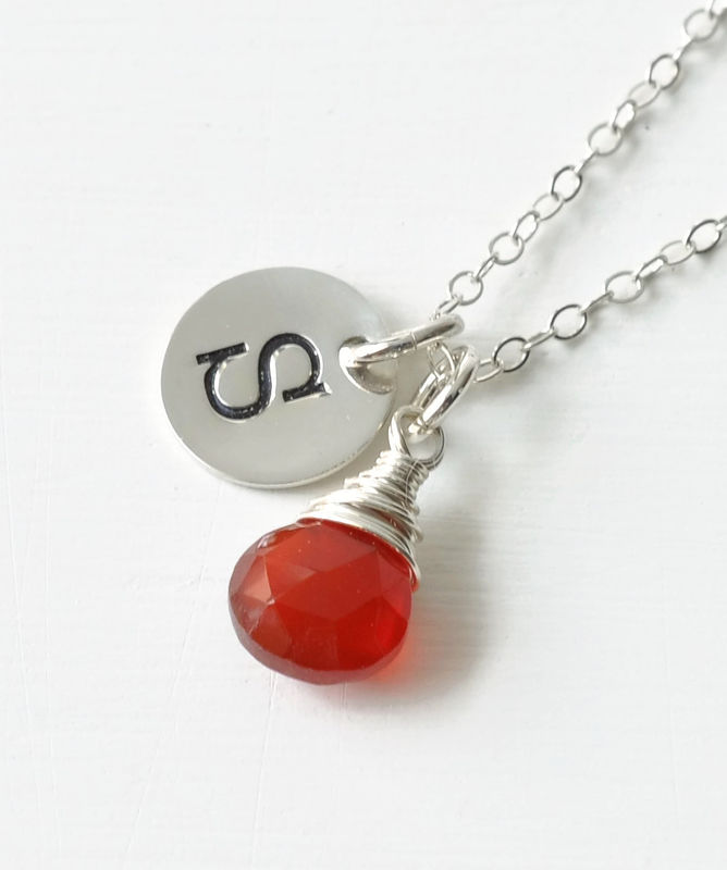 Sterling Silver July Birthstone Initial Necklace - product image