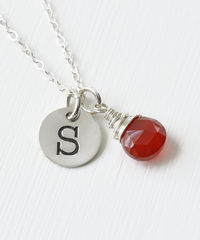 Sterling Silver July Birthstone Initial Necklace - product images 3 of 8