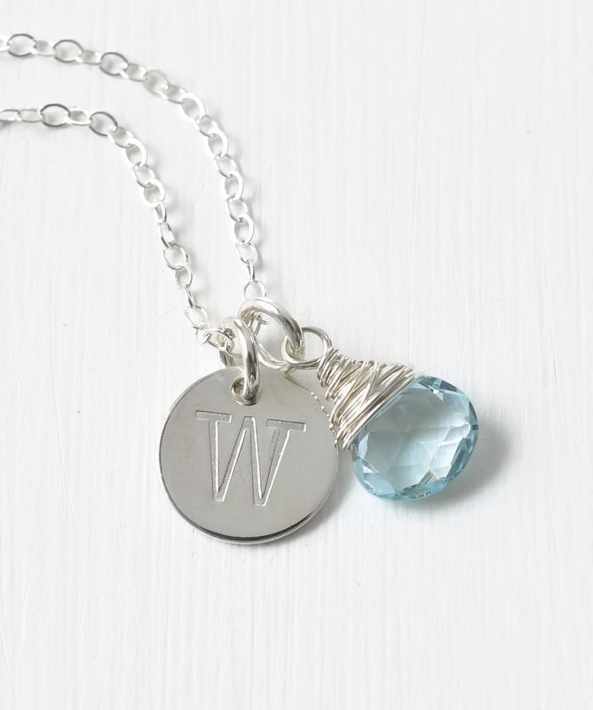Sterling Silver December Birthstone Initial Necklace - product image