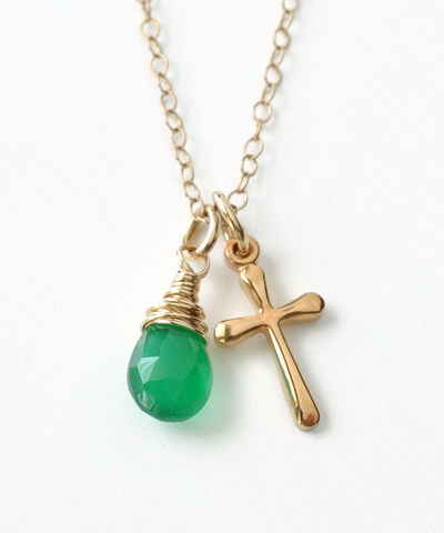 Small,Gold,Filled,Cross,Necklace,with,Birthstone,for,May,gold cross necklace with birthstone
