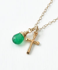 Small Gold Filled Cross Necklace with Birthstone for May - product images 2 of 6