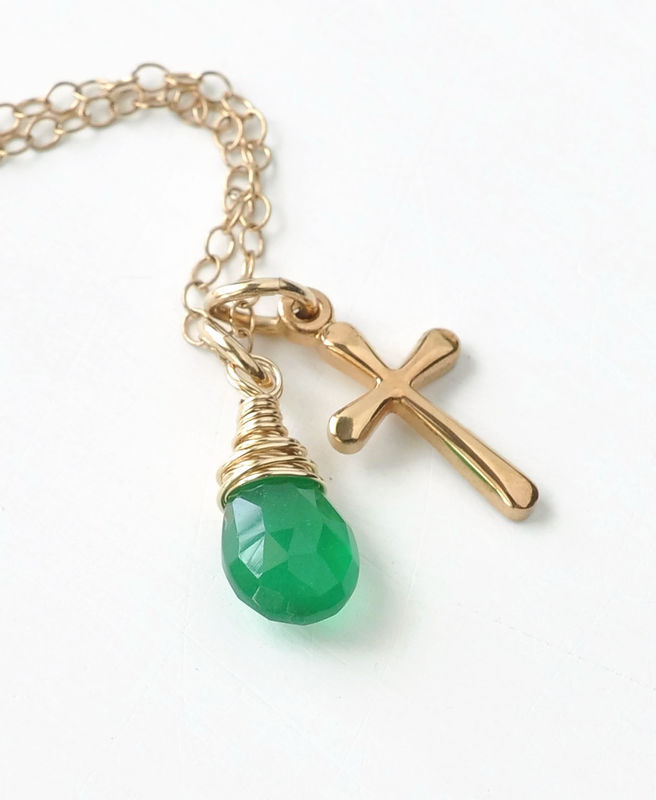 Small Gold Filled Cross Necklace with Birthstone for May - product image