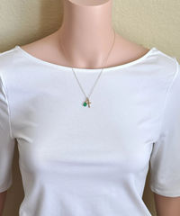 Small Gold Filled Cross Necklace with Birthstone for May - product images 4 of 6