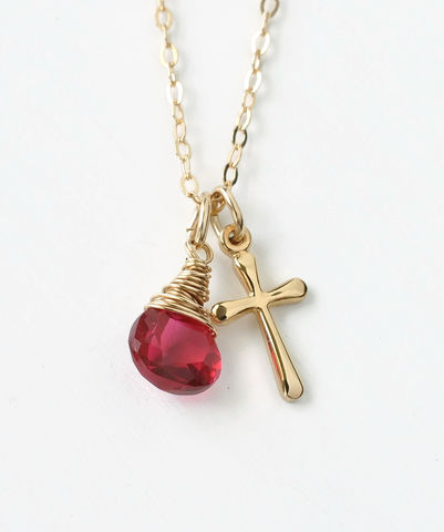 Small,Gold,Filled,Cross,Necklace,with,Birthstone,for,July,gold cross necklace with birthstone