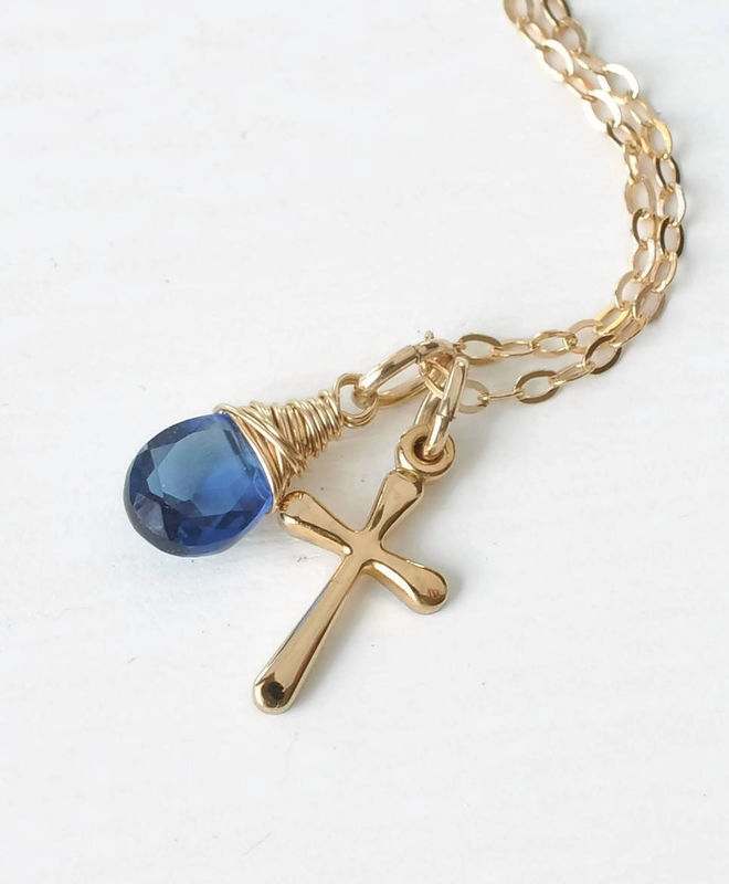 Small Gold Filled Cross Necklace with Birthstone for September - product image