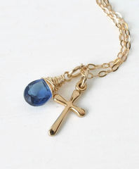 Small Gold Filled Cross Necklace with Birthstone for September - product images 2 of 6