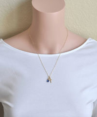 Small Gold Filled Cross Necklace with Birthstone for September - product images 4 of 6