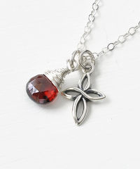Small Sterling Silver Cross Necklace with Birthstone for January - product images 3 of 6