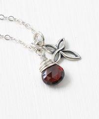 Small Sterling Silver Cross Necklace with Birthstone for January - product images  of