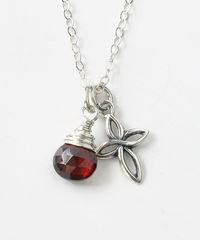 Small Sterling Silver Cross Necklace with Birthstone for January - product images 1 of 6
