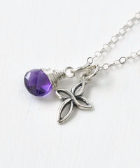 Small Sterling Silver Cross Necklace with Birthstone for February - product images 2 of 6