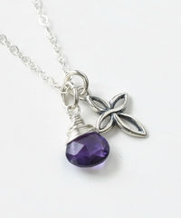 Small Sterling Silver Cross Necklace with Birthstone for February - product images 3 of 6