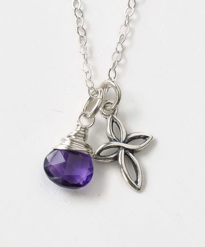 Small,Sterling,Silver,Cross,Necklace,with,Birthstone,for,February,sterling silver cross necklace with birthstone
