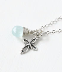 Small Sterling Silver Cross Necklace with Birthstone for March - product images 2 of 6