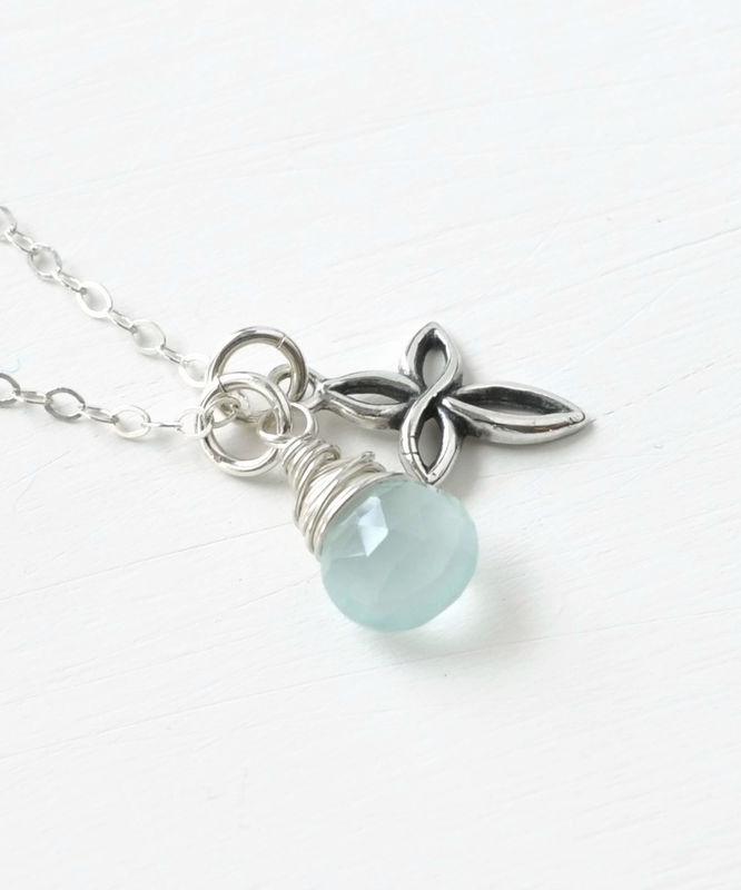 Small Sterling Silver Cross Necklace with Birthstone for March - product image