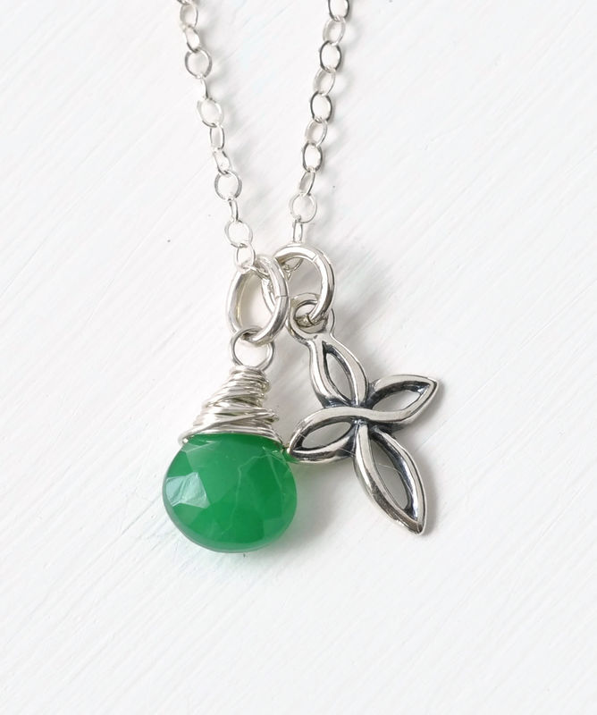 Small Sterling Silver Cross Necklace with Birthstone for May - product image
