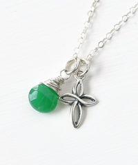 Small Sterling Silver Cross Necklace with Birthstone for May - product images  of