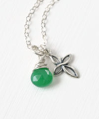 Small Sterling Silver Cross Necklace with Birthstone for May - product images 2 of 6