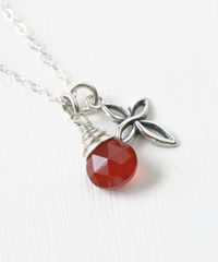 Small Sterling Silver Cross Necklace with Birthstone for July - product images 2 of 6