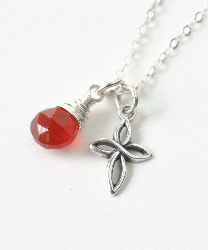 Small Sterling Silver Cross Necklace with Birthstone for July - product image