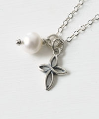 Small Sterling Silver Cross Necklace with Birthstone for June - product images 2 of 6