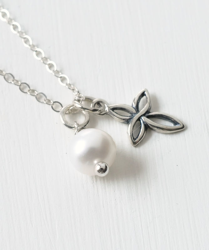 Small Sterling Silver Cross Necklace with Birthstone for June - product image