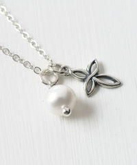 Small Sterling Silver Cross Necklace with Birthstone for June - product images  of