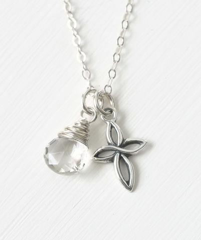 Small,Sterling,Silver,Cross,Necklace,with,Birthstone,for,April,sterling silver cross necklace with birthstone