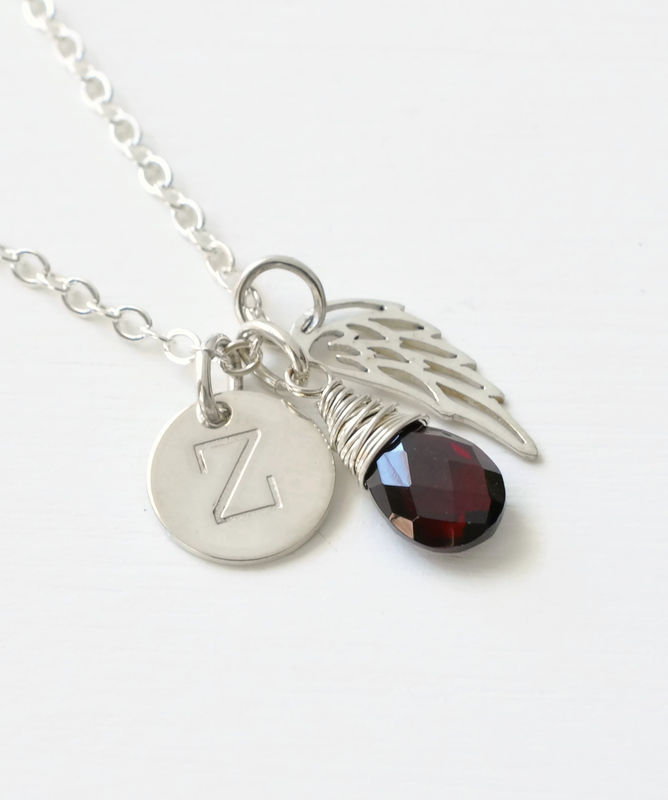Personalized Baby Loss Necklace with January Birthstone and Initial Charm - product image