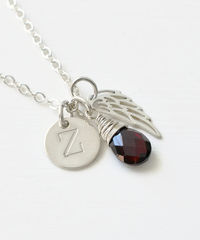 Personalized Baby Loss Necklace with January Birthstone and Initial Charm - product images 2 of 9