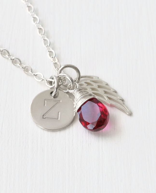 Personalized Baby Loss Necklace with July Birthstone and Initial - product image