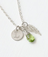 Personalized Infant Loss Necklace with August Birthstone - product images 2 of 9