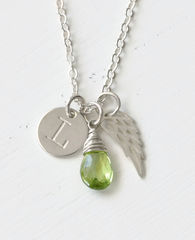 Personalized Infant Loss Necklace with August Birthstone - product images 1 of 9