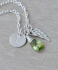 Personalized Infant Loss Necklace with August Birthstone - product images 3 of 9