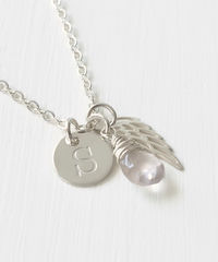 Personalized Baby Loss Necklace with October Birthstone and Initial - product images 2 of 9