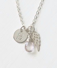 Personalized Baby Loss Necklace with October Birthstone and Initial - product images 1 of 9