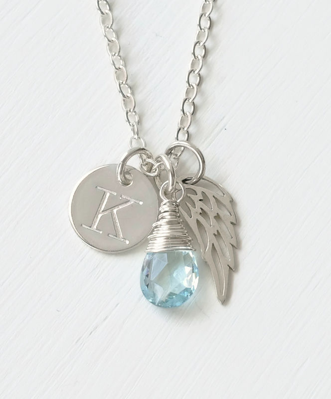 Personalized Baby Loss Necklace with December Birthstone and Initial - product image