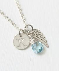 Personalized Baby Loss Necklace with December Birthstone and Initial - product images  of