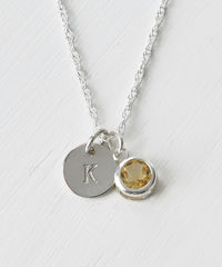 Sterling Silver Initial Necklace with November Birthstone Citrine - product images 2 of 8