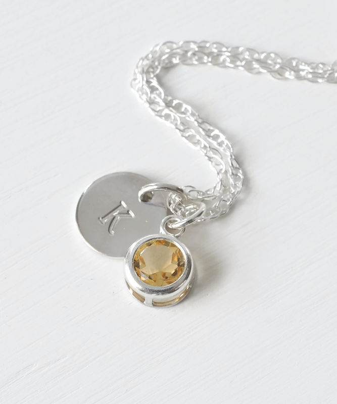 Sterling Silver Initial Necklace with November Birthstone Citrine - product image