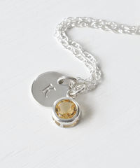 Sterling Silver Initial Necklace with November Birthstone Citrine - product images 1 of 8