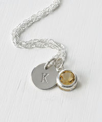 Sterling Silver Initial Necklace with November Birthstone Citrine - product images 3 of 8