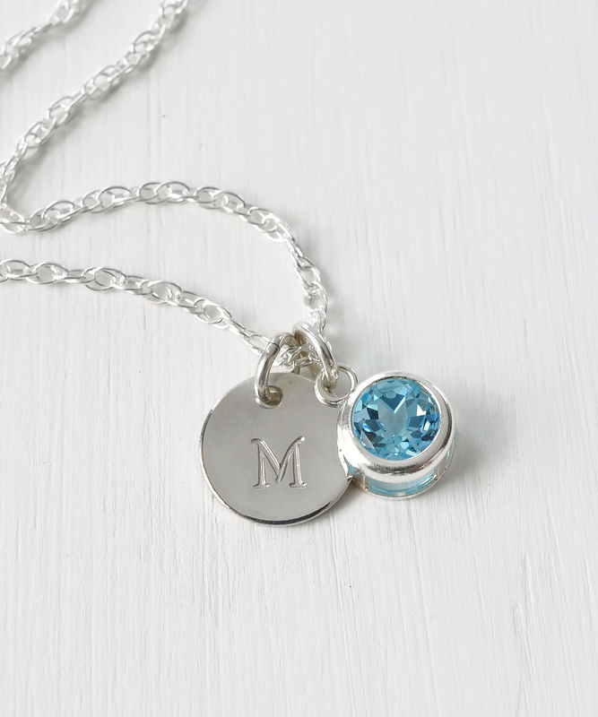 Sterling Silver Initial Necklace with December Birthstone Blue Topaz - product image