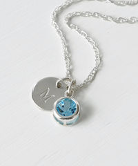 Sterling Silver Initial Necklace with December Birthstone Blue Topaz - product images 3 of 8